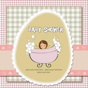 Tarjeta romántica de la ducha de la niña
