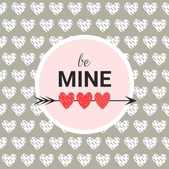 Tarjeta romántica sé mía sobre un fondo gris con texto en círculo. fondo del día de san valentín en estilo plano moderno
