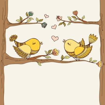 Tarjeta romántica con pájaros volando enamorados.