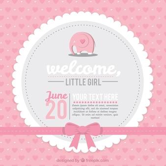 Tarjeta rosa de bienvenida del bebé