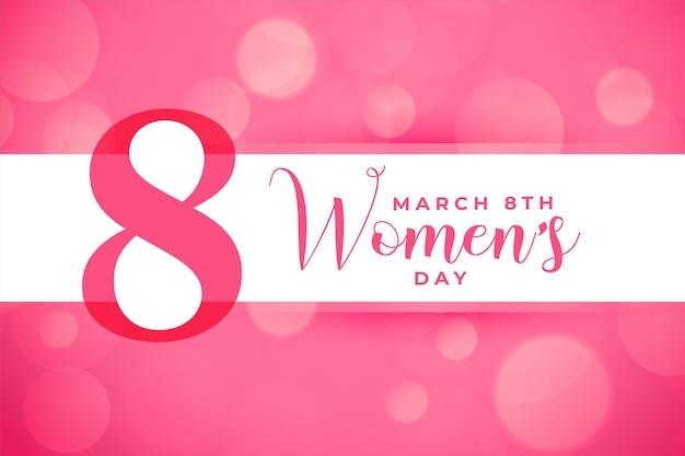 Tarjeta rosa del día internacional de la mujer feliz