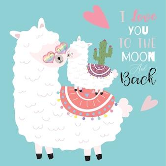 Tarjeta rosa dibujada mano rosa azul con llama, flor, corazón. te quiero hasta la luna y más allá