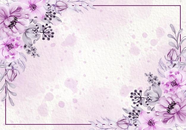 Tarjeta rosa púrpura botánica con flores silvestres, hojas, ilustración de marco