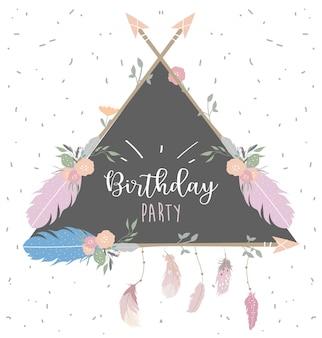 Tarjeta rosa triángulo azul con pluma, flor, hoja, flecha