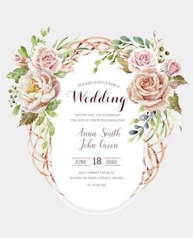 Tarjeta de rosas acuarela para boda e invitaciones.