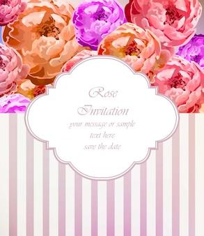 Tarjeta de rosas vintage vector. ilustraciones de ramo hermoso retro