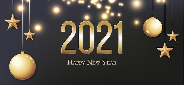 Tarjeta con saludo 2021 feliz año nuevo. ilustración con bolas de navidad doradas, luz, estrellas y lugar para el texto. folleto, cartel, invitación o pancarta para la celebración de la fiesta de nochevieja de 2021.