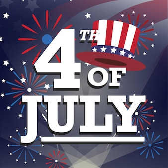 Tarjeta de saludos estadounidense del 4 de julio con fuegos artificiales