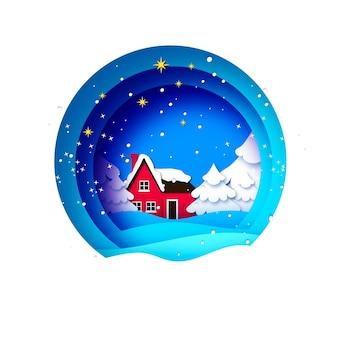 Tarjeta de saludos de feliz navidad con hermoso paisaje y árbol de navidad. vacaciones de invierno. feliz año nuevo. casa de campo roja. azul.