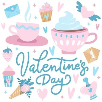 Tarjeta de saludos linda del día de san valentín con corazones, un par de tazas de té, pastelitos y flores.