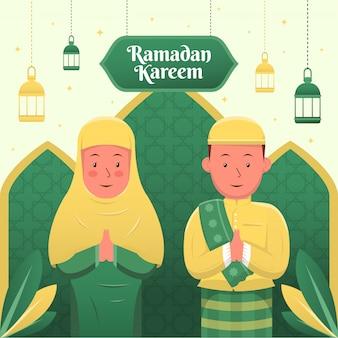 Tarjeta de saludos de ramadán de dibujos animados musulmanes