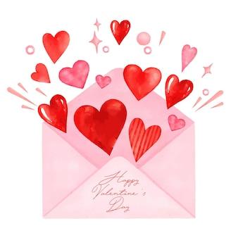 Tarjeta de san valentín acuarela amor carta
