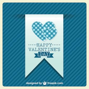 Tarjeta de san valentín azul con corazones de diseño retro