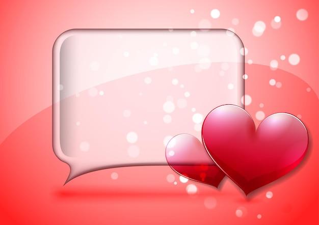 Tarjeta de san valentín con burbujas de discurso