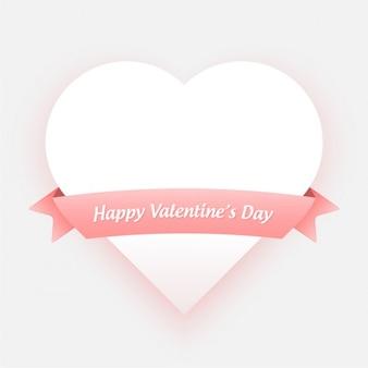 Tarjeta de san valentín con corazón blanco y lazo rosa