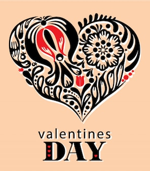 Tarjeta de san valentín corazón floral decorativa