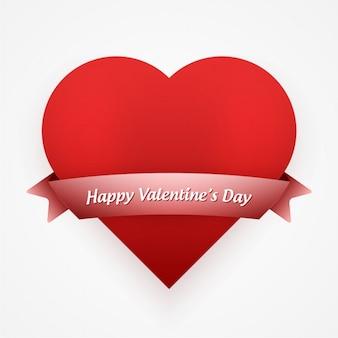 Tarjeta de san valentín con corazón y lazo rojo