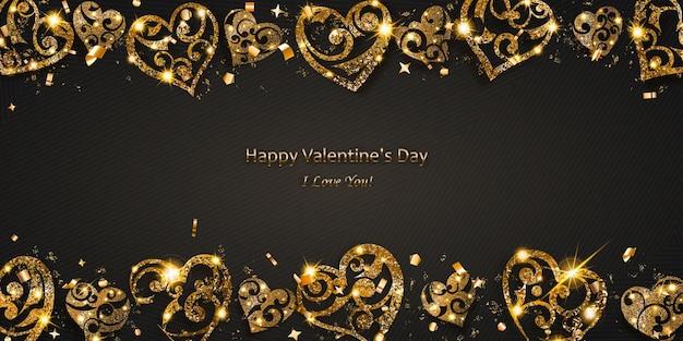 Tarjeta de san valentín con corazones brillantes de destellos dorados con reflejos y sombras sobre fondo oscuro