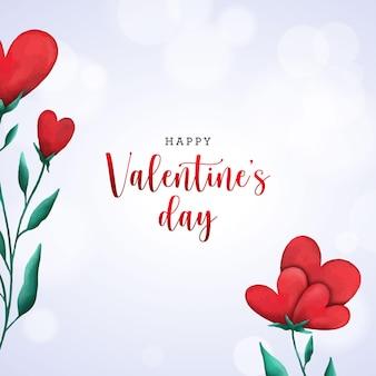 Tarjeta de san valentín con corazones florales de acuarela y bokeh
