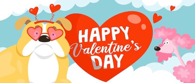 Tarjeta de san valentín de dibujos animados con lindo bulldog inglés con gafas de sol en forma de corazón y un divertido caniche rosa
