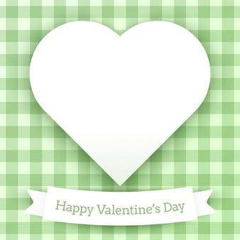 Tarjeta de san valentín con fondo a cuadros verde