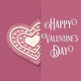Tarjeta de san valentín con galleta de corazón rosa