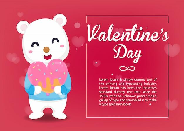 Tarjeta de san valentín. lindo oso abrazo dulce calor con plantilla de día de san valentín.