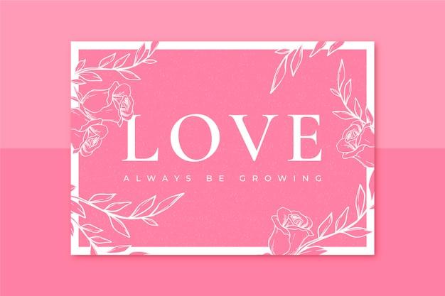 Tarjeta de san valentín monocolor floral