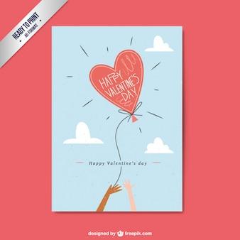 Tarjeta de san valentín plana con globo con forma de corazón