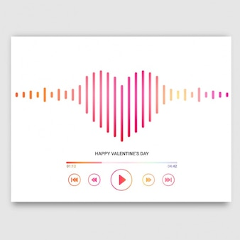 Tarjeta de san valentín con reproductor de música en forma de corazón