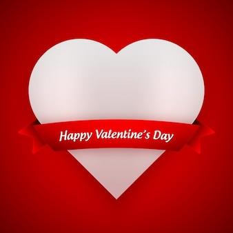 Tarjeta de san valentín roja con corazón blanco
