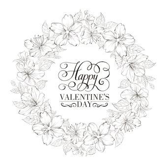 Tarjeta de san valentín con sakura floreciente