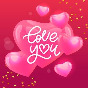 Tarjeta de san valentín te amo con letras caligráficas