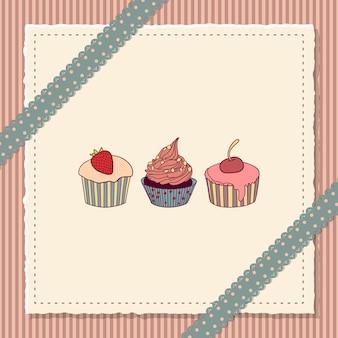 Tarjeta de scrapbooking con cupcakes