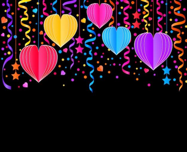 Tarjeta con serpentinas de colores, confeti y corazones de papel sobre fondo negro