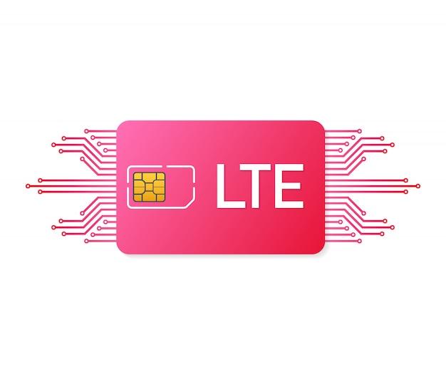 Tarjeta sim de lte. símbolo de la tecnología de telecomunicaciones móviles. vector stock de ilustración.