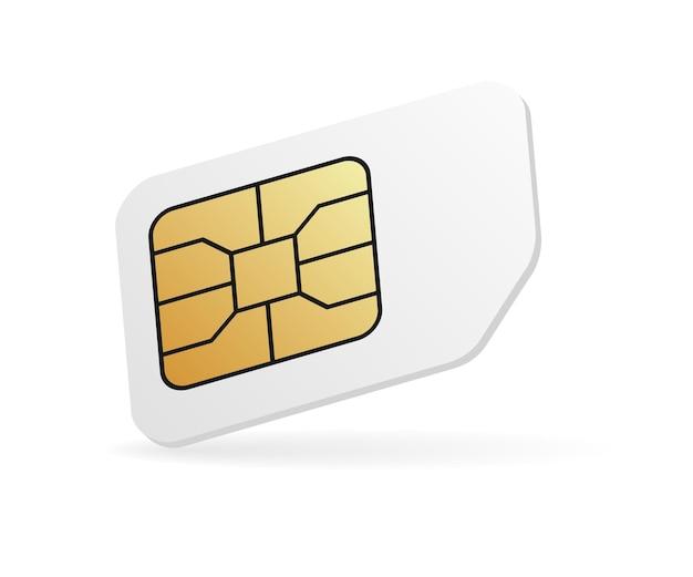 Tarjeta sim móvil en blanco. tarjeta de teléfono celular realista
