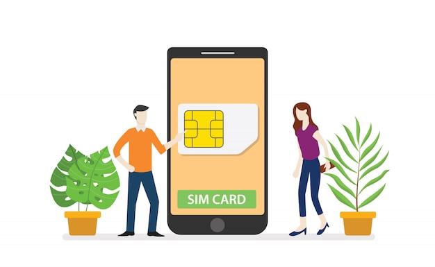 Tarjeta sim o red de tecnología móvil de tarjeta sim con teléfono inteligente y personas de pie en el teléfono inteligente con estilo plano moderno.