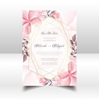 Tarjeta simple de la invitación de la boda con el fondo floral del marco de la acuarela rosada