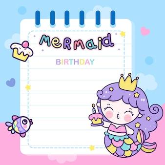 Tarjeta de sirena de dibujos animados para fiesta de cumpleaños hoja de notas de animales kawaii