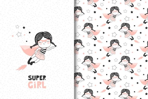 Tarjeta de súper chica dibujada a mano de dibujos animados y patrones sin fisuras