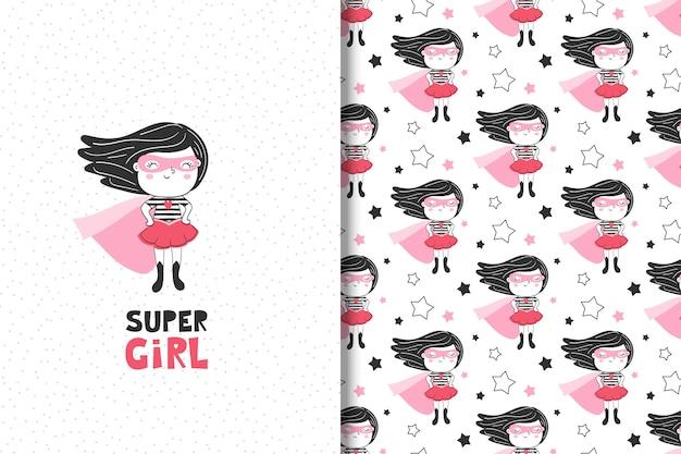 Tarjeta de superhéroe niña linda y patrones sin fisuras