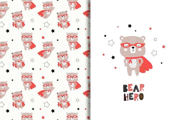 Tarjeta de superhéroe de oso de dibujos animados y patrones sin fisuras