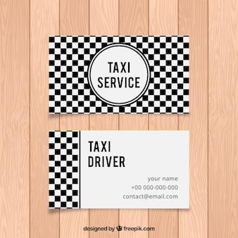 Tarjeta de taxista abstracta de cuadros blancos y negros