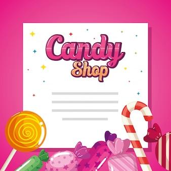 Tarjeta de tienda de golosinas con deliciosos caramelos