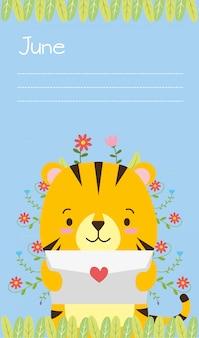 Tarjeta de tigre, caricatura animal lindo y estilo plano, ilustración