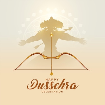 Tarjeta tradicional del festival dussehra con ravan y arco flecha