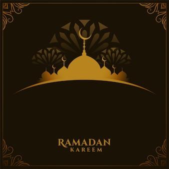 Tarjeta tradicional del festival de ramadán kareem con espacio de texto