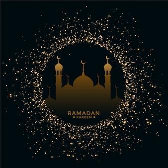 Tarjeta tradicional del festival ramadan mubarak con destellos