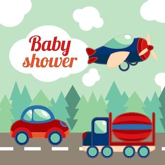 Tarjeta de transporte de juguetes para baby shower.